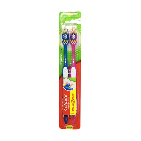 Colgate Premier White Toothbrush Twin Pack - Pink & Blue