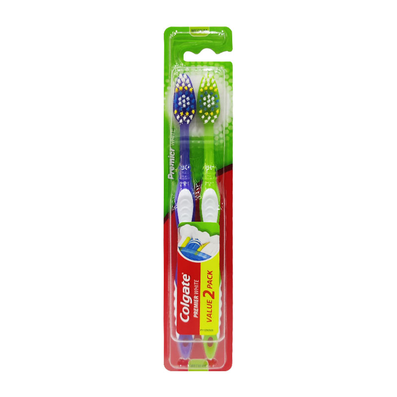 Colgate Premier White Toothbrush Twin Pack - Purple & Green