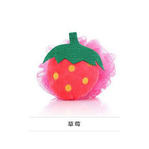 Colorful Fruit Shaped Flower Bath Wipe - Deep Pink