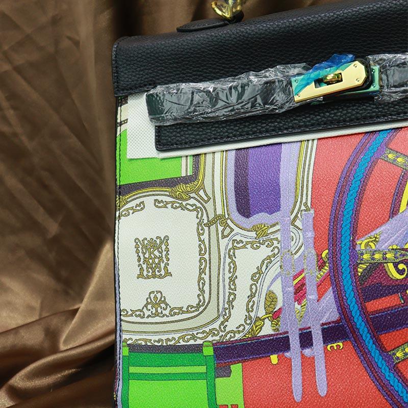 Colorful Printed Women's Handbag (20118) - Black