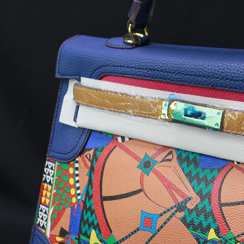 Colorful Printed Women's Handbag (20118) - Blue/Plam
