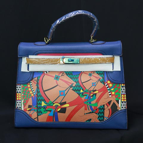 Colorful Printed Women's Handbag (20118) - Blue/Plam