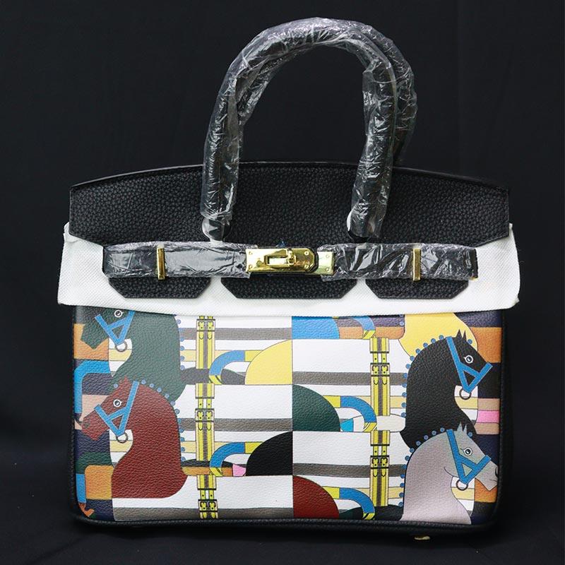 Colorful Printed Women's Handbag (2016-1) - Black