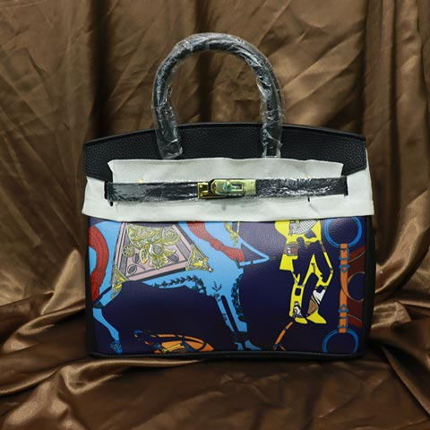 Colorful Printed Women's Handbag (2016-1) - Blue