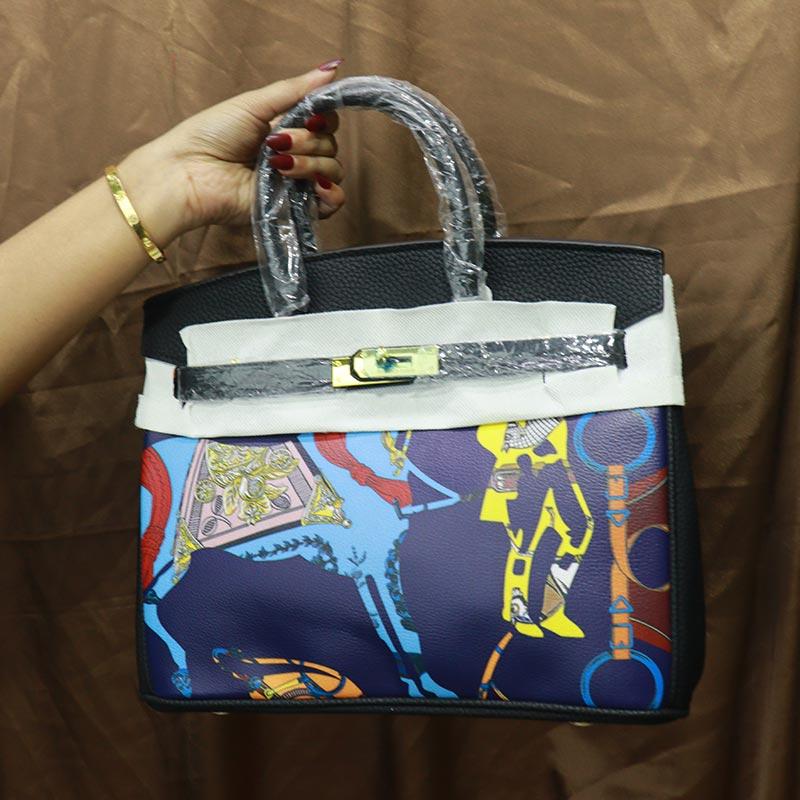 Colorful Printed Women's Handbag (2016-1) - Blue