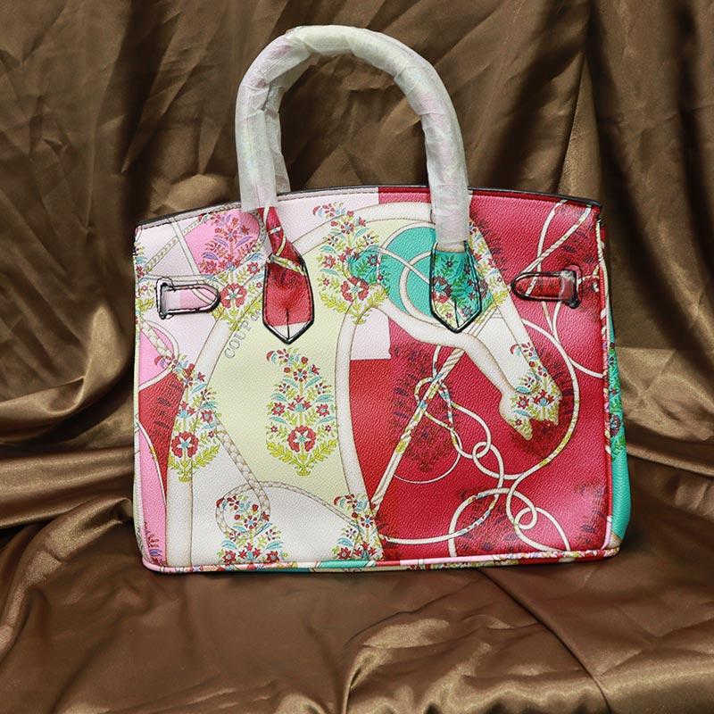 Colorful Printed Women's Handbag (2016-1) - Pink