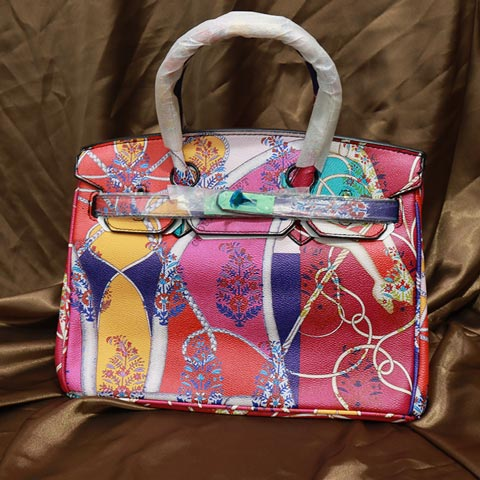 Colorful Printed Women's Handbag (2016-1) - Rose Red
