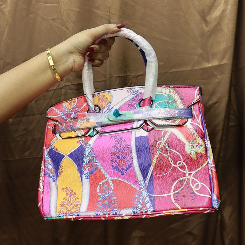 Colorful Printed Women's Handbag (2016-1) - Rose Red