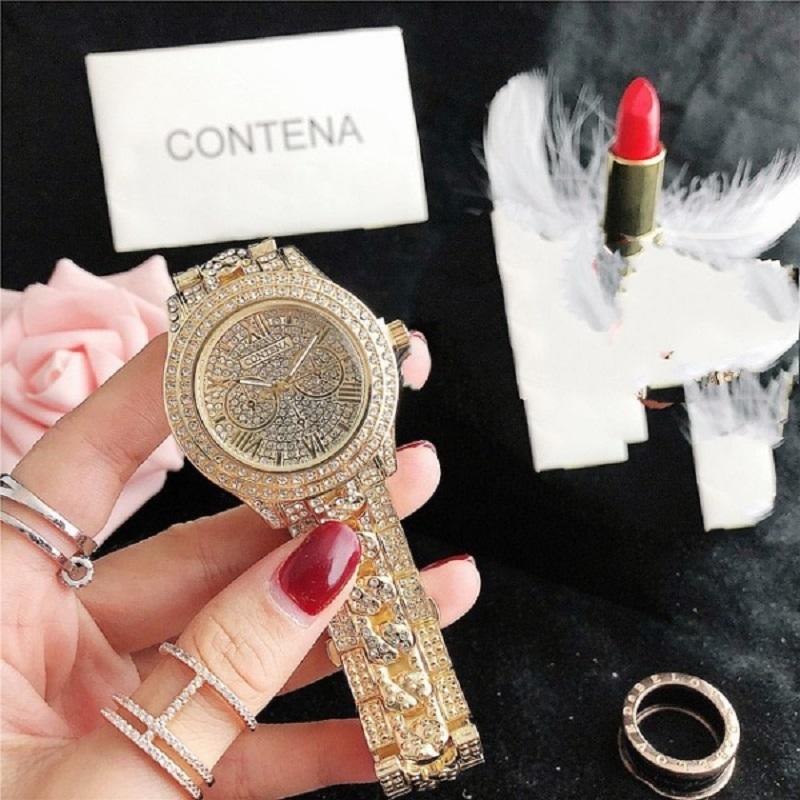 Contena Diamond Studded Ladies Casual Fashion Wrist Watch - Golden