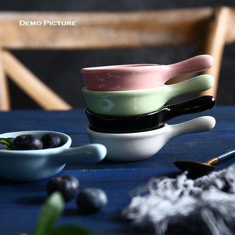 Creative Japanese Style Mini Ceramic Dish with Handle - Sky Blue