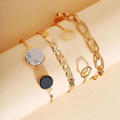 Creative Retro Marble Geometric Chain Bracelet Set 4pcs (20156)