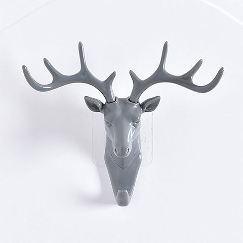 Deer Head Wall Hooks - Grey