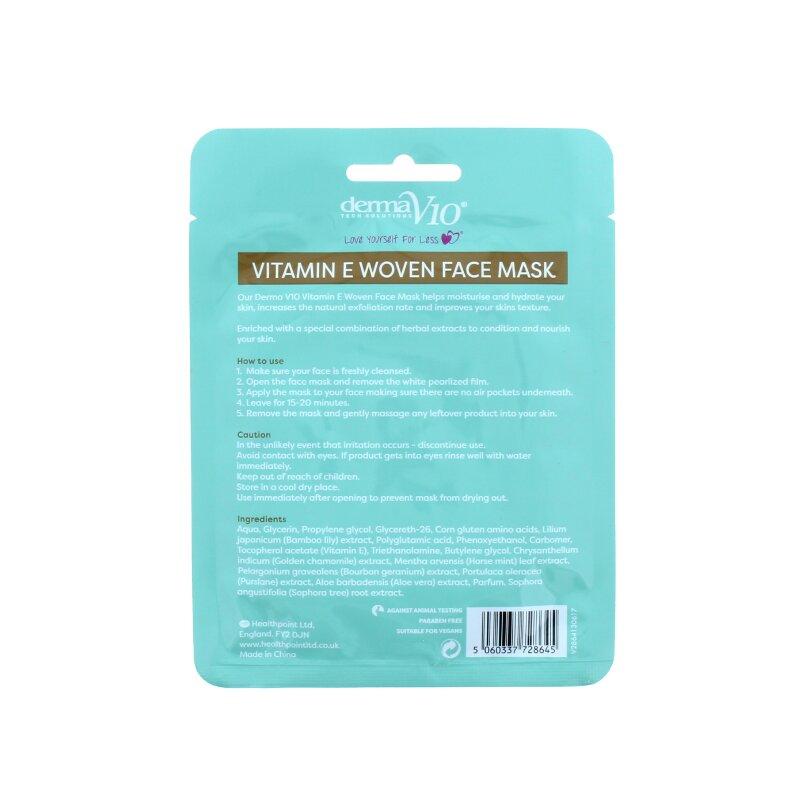 Derma V10 Hydrating Vitamin E Woven Face Mask With Aloe Vera