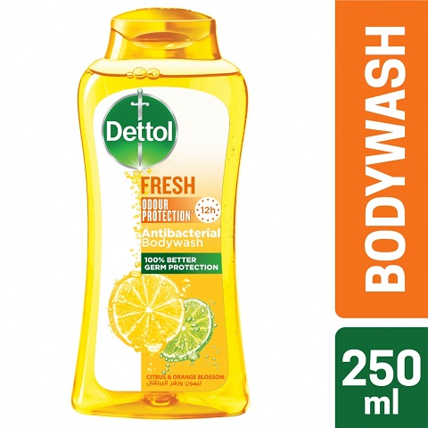 Dettol Fresh 12 Hour Odour Protection Antibacterial Body Wash With Citrus & Orange Blossom 250ml