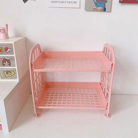 Double Layer Storage Folding Rack - Pink (20186)
