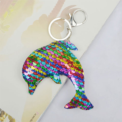 Double Sided Sequin Dolphin Bag key Chain - Colorful