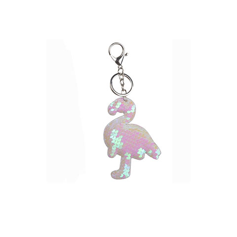 Double Sided Sequin Flamingo Bag Key Chain - White