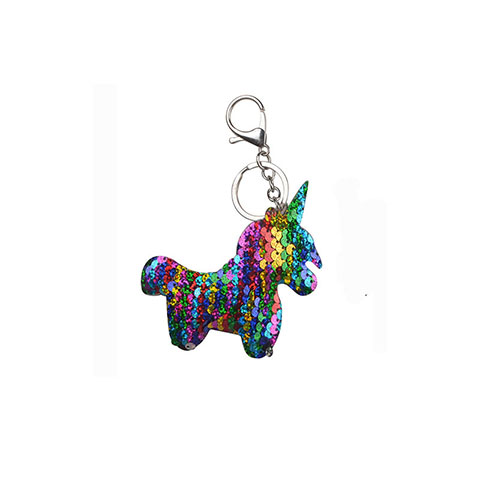 Double Sided Sequin Unicorn Bag key Chain - Colorful
