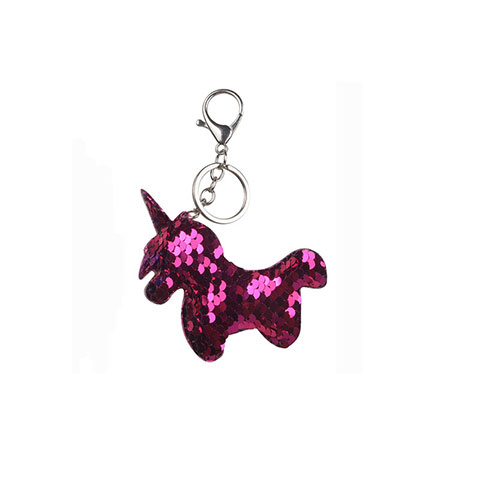 Double Sided Sequin Unicorn Bag key Chain - Deep Pink