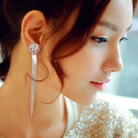 European and American Style Long Tassel Exaggerated Round  Crystal Earrings