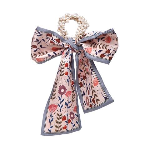 Fashion Pastoral Style Romantic Silk Scarf Ribbon Pearl Headband - Flower Print