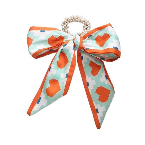 Fashion Pastoral Style Romantic Silk Scarf Ribbon Pearl Headband - Orange Love