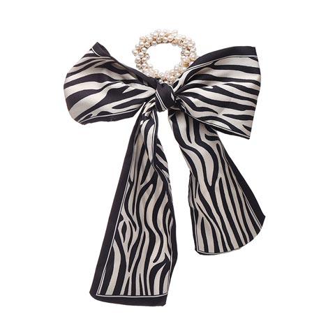 Fashion Pastoral Style Romantic Silk Scarf Ribbon Pearl Headband (20158) - Zebra Pattern