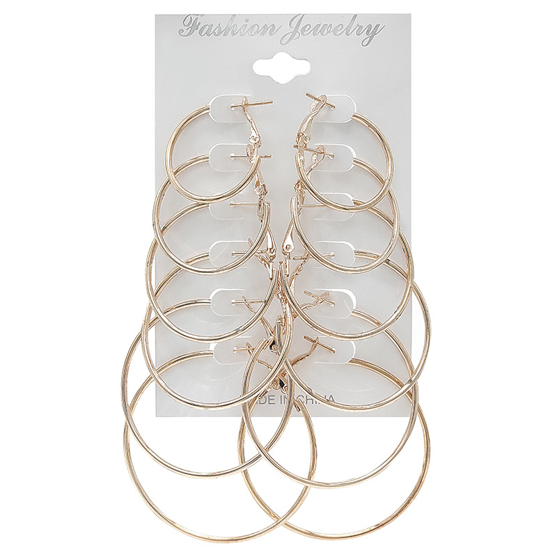 Simple Circle Earrings Set for Women - 6 pairs