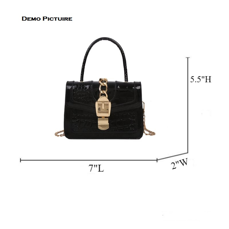 Fashionable Crocodile Pattern Chain Lock Small Bag (1001065)