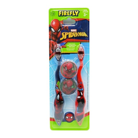 Firefly Marvel Spiderman Twin Toothbrushes And Caps - 3+ Years