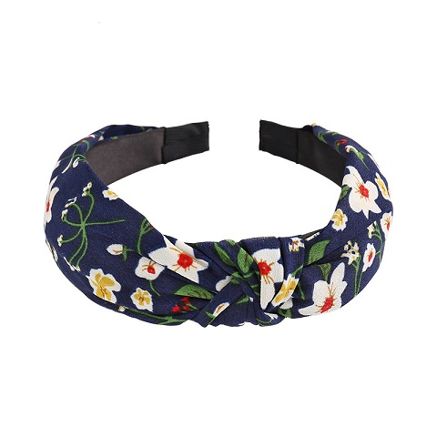 Floral Pattern Plaid Knotted Hair Band for Women - Blue