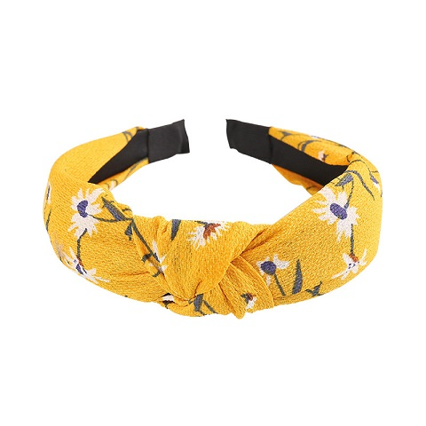 Floral Pattern Plaid Knotted Hair Band for Women - Yellow