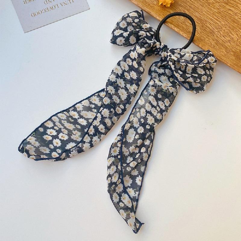 Floral Printed Bow Shaped Hair Band - Navy Blue