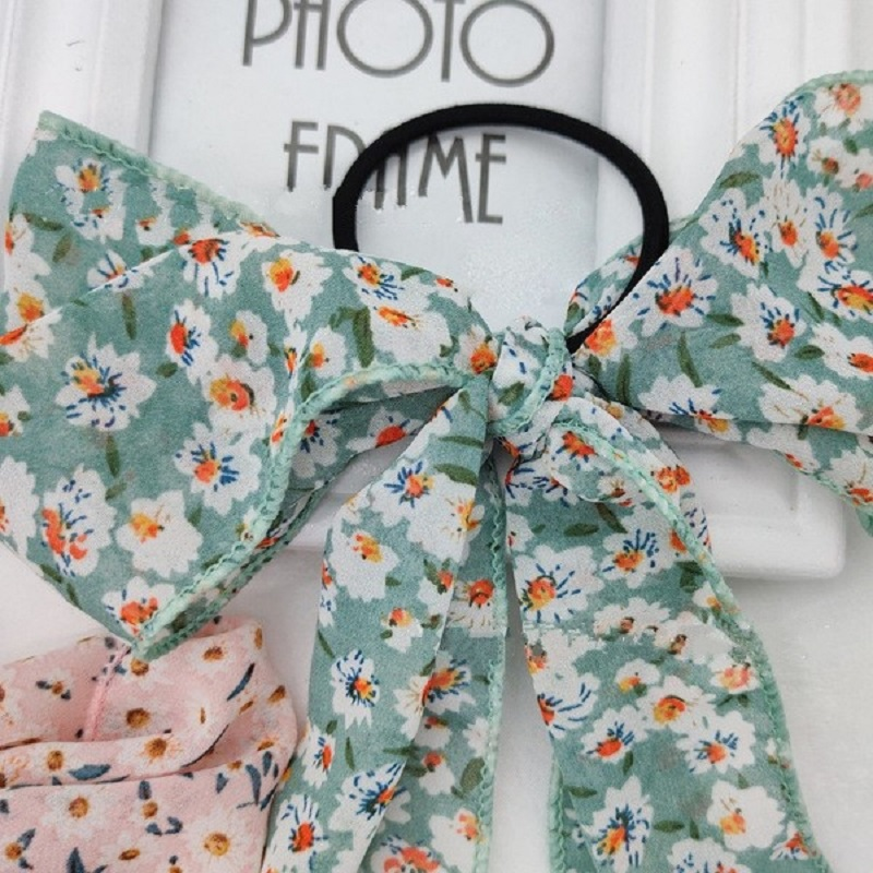 Floral Printed Bow Shaped Hair Band - Paste