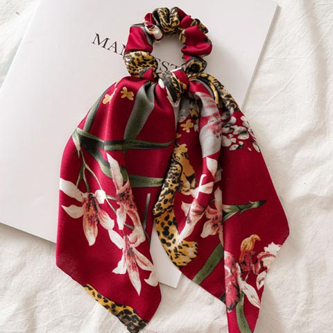 Floral Printed Hair Tie Scrunchies for Women - Red
