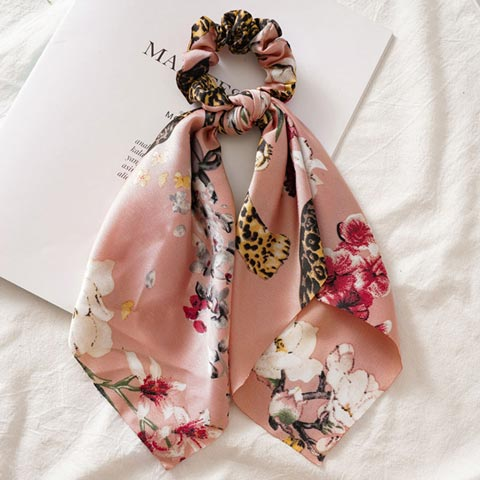 Floral Printed Hair Tie Scrunchies for Women - Rose