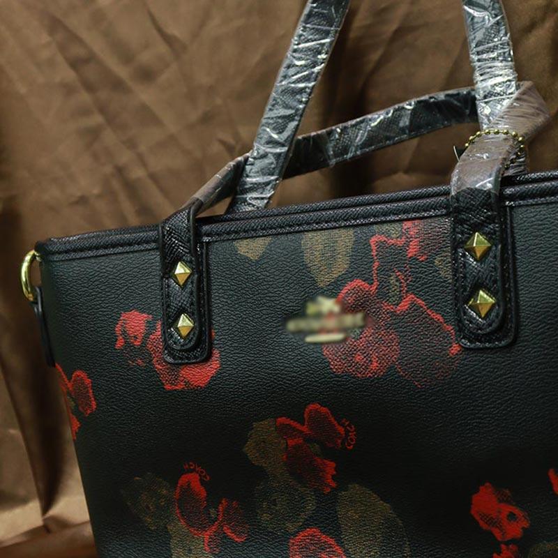Floral printed Inspired By Ladies Handbag (658) - Black Camellia