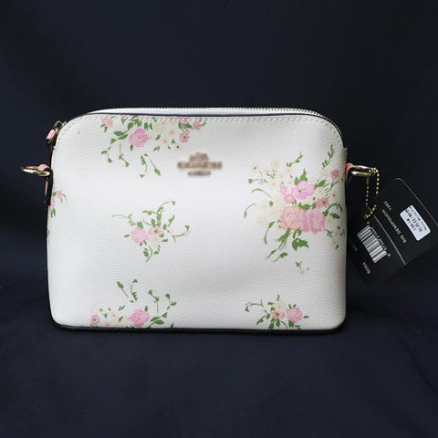 Floral Printed Ladies One Sided Shoulder Bag (138-1) - Peony White