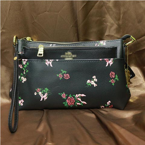 Flower Print Inspired By Ladies Shoulder Bag (1887) - Black