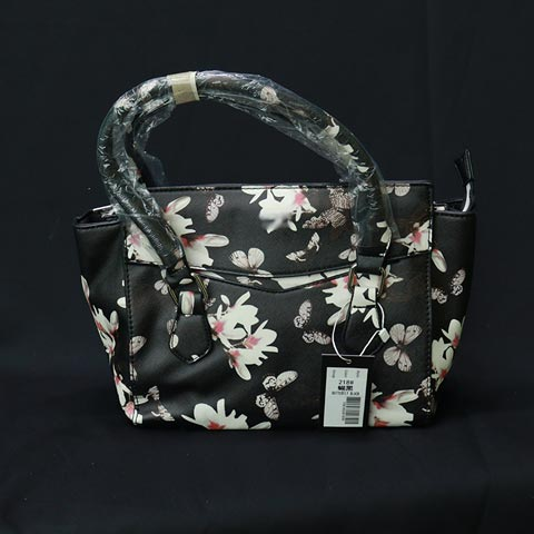 Flower Print Ladies Handbag (218) - Butterfly Black