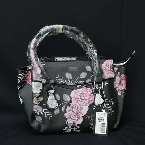 Flower Print Ladies Handbag (218) - Flower Black