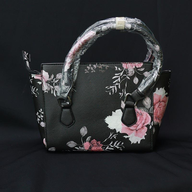 Flower Print Ladies Handbag (218) - Flower Black