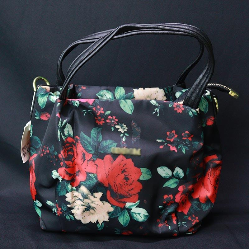 Flower Print Small Ladies Hand Bag (997) - Black
