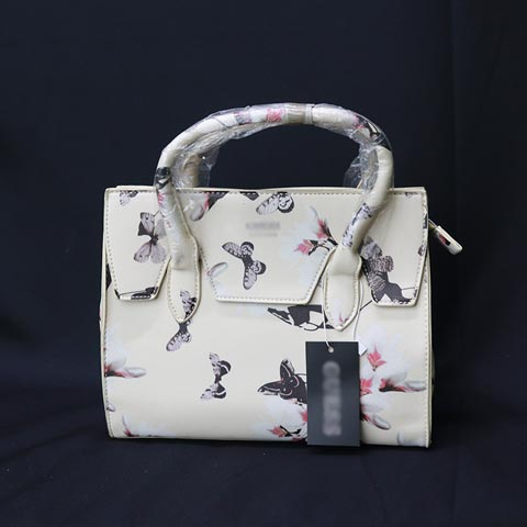 Flower Printed One Sided Shoulder Ladies Handbag (805) - Butterfly Khaki