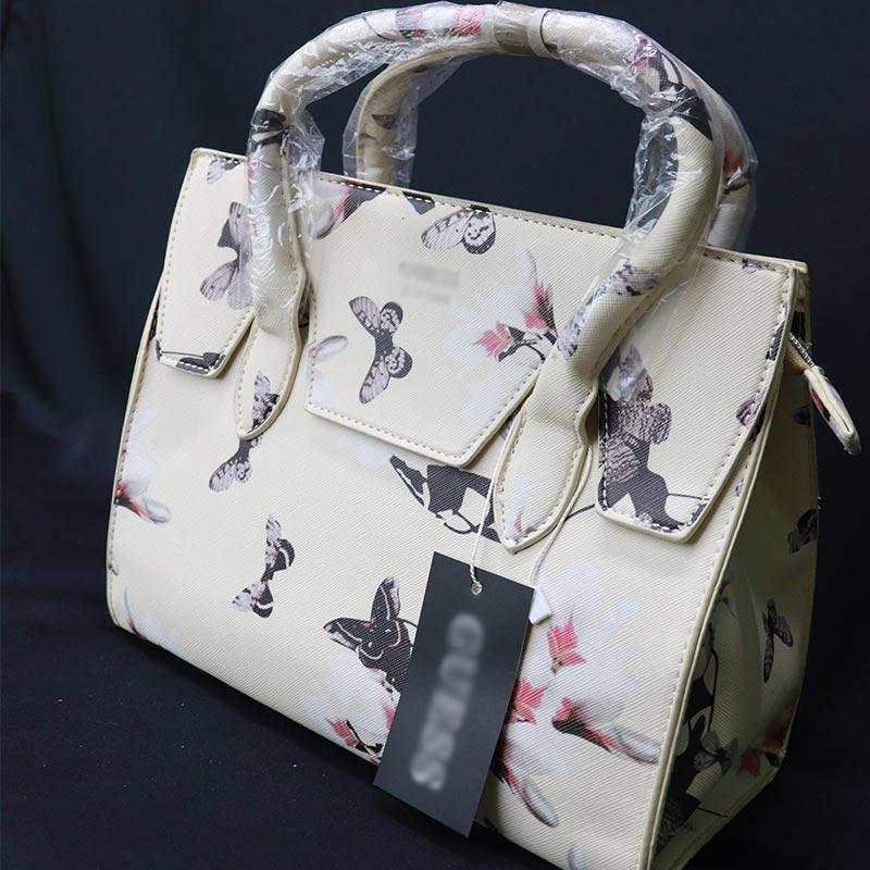 Flower Printed One Sided Shoulder Ladies Handbag (805) - Butterfly Khaki