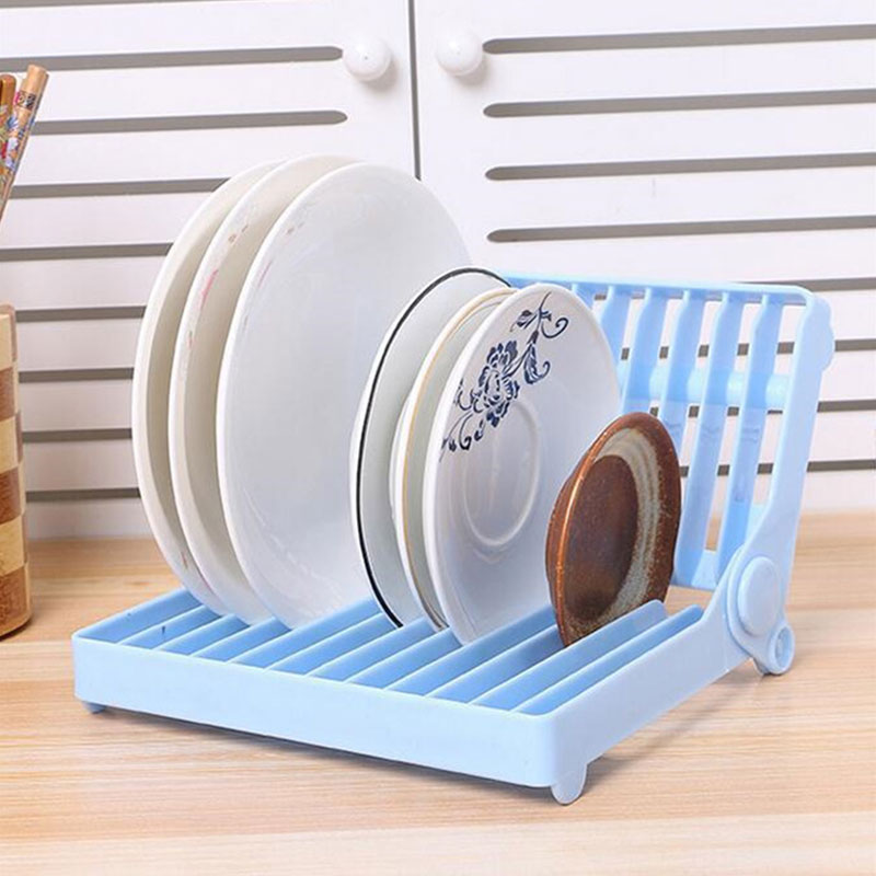 Foldable Kitchen Dish Rack - Blue