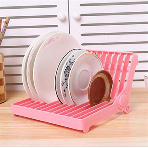 Foldable Kitchen Dish Rack - Pink