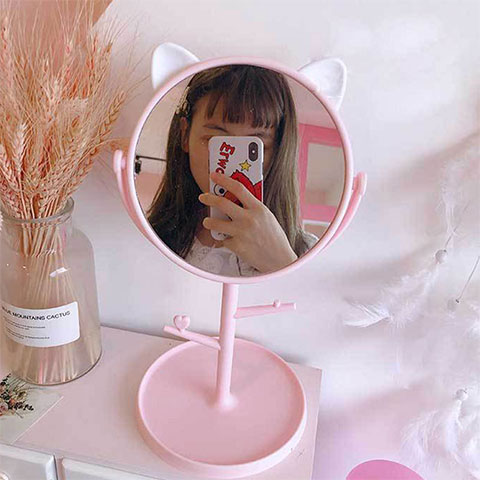 Folding Desktop Makeup Mirror - Pink
