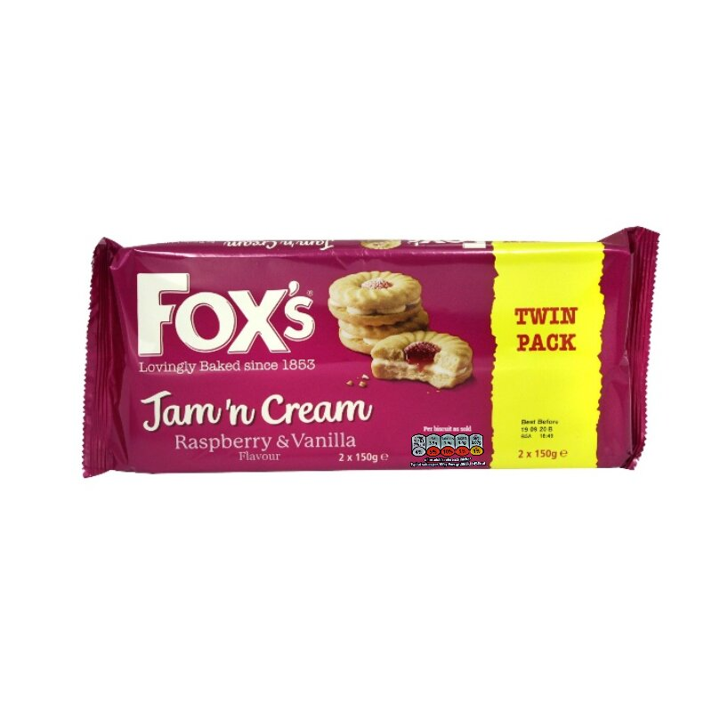 Fox's Jam'n Cream Raspberry & Vanilla Flavour Biscuit Twin Pack 2x150g