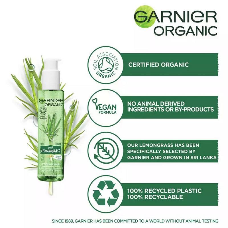 Garnier Organic Fresh Lemongrass Detox Gel Wash 150ml